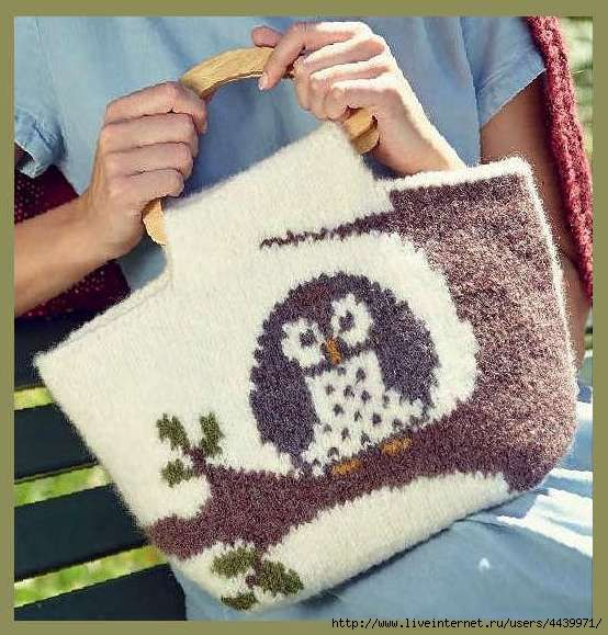 Озорные петельки: Стильная сумка с мудрой совой
