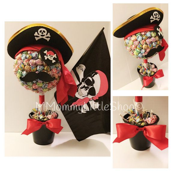 Pirate Centerpiece, JUMBO Pirate Lollipop Topiary, Candy Topiaries, Pirate Party Theme, Dum Dum Lollipop Topiary