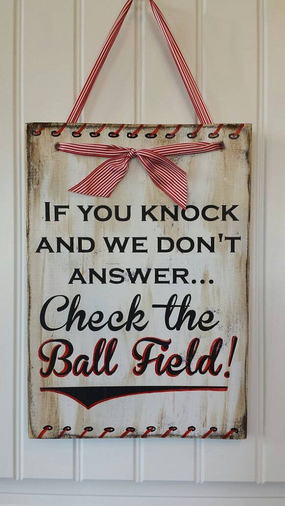 Cute baseball sign!! Check out this item in my Etsy shop https://www.etsy.com/listing/271593031/cute-check-the-ballfield-wooden-sign