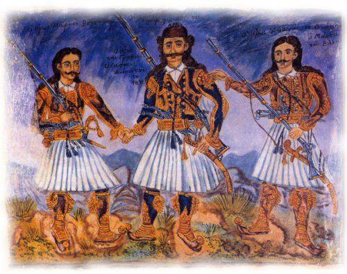 Από αριστερά προς τα δεξιά: Μάρκος Μπότσαρης, Οδυσσέας Ανδρούτσος, Αθανάσιος Διάκος. 'Εργο του Θεόφιλου. από ΕΝΩΣΗ ΜΑΚΕΔΟΝΩΝ ΚΕΡΚΥΡΑΣ