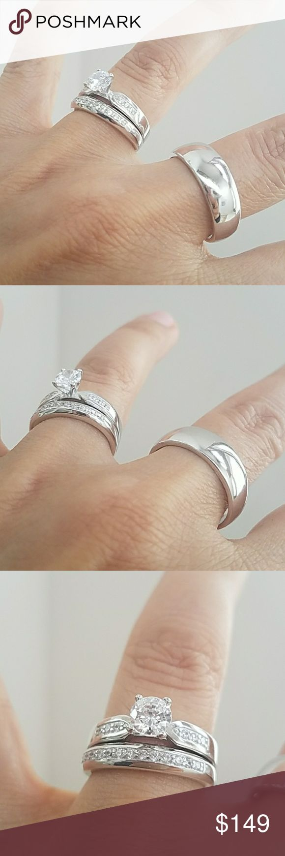 14k Gold plated Engagement Ring Plain Wedding Band 3pc set. Women's Engagement Ring with Wedding Band for Bride and Groom. 3pc set. 1/2 karat cubic zirconia center stone in a 14k White Gold plated over Sterling silver setting. Available in all sizes. Please message me your ring size your Ring sizes. Thanks Jewelry Rings