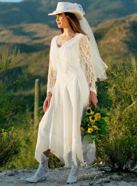 Wedding dress with lace detail and fringe country western for Country western wedding dresses