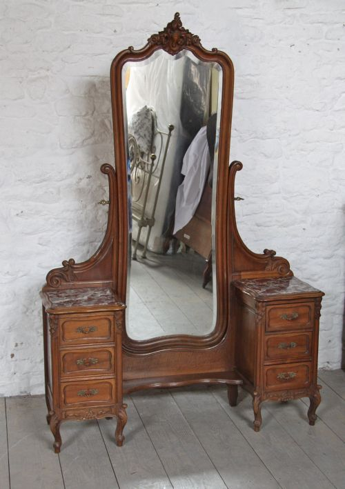 *FRENCH LOUIS XV STYLE ~ Walnut Cheval Dressing Table. Description: French  Louis XV