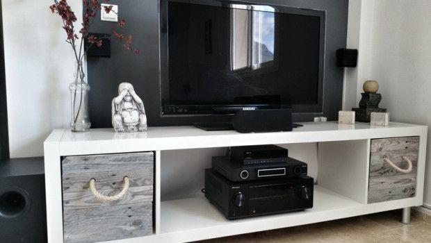 Ikea kallax diy tv stand salon pinterest diy tv for Ikea expedit bookcase tv stand