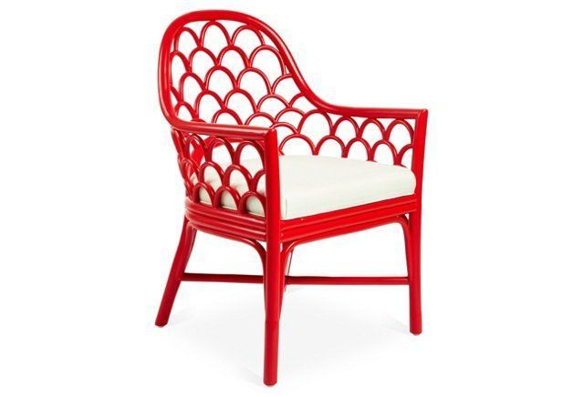 Would love to find a porch set with this wicker design!!! Koi Rattan Armchair, Ruby/White Sand