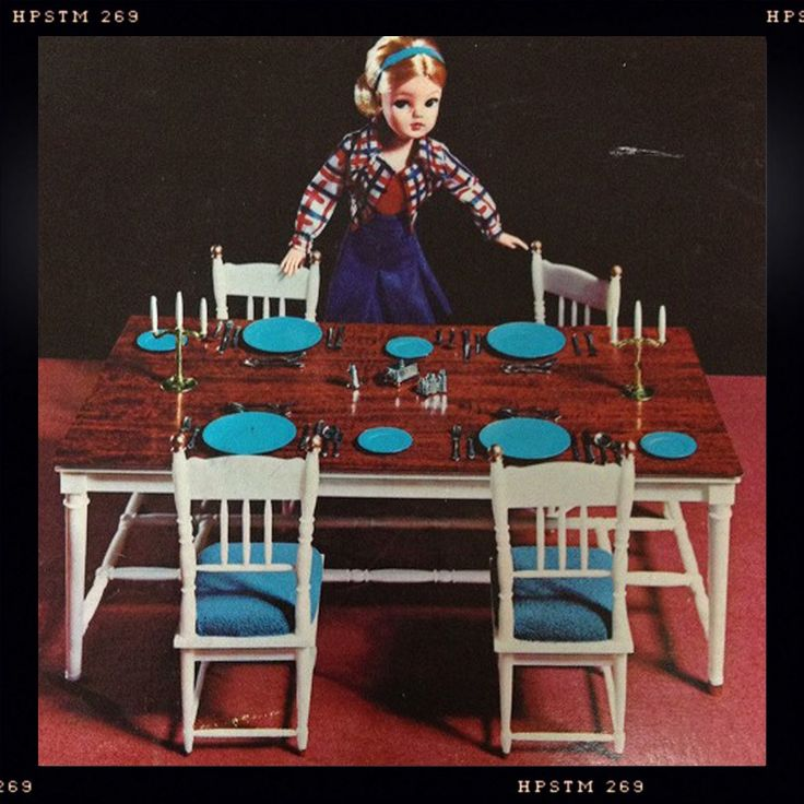 The Dining Table set. I had hours of fun with this. I particularly loved the candelabra and slat and pepper set. I'm sure there was some sort of Agatha Christie mystery played out in my bedroom using these!