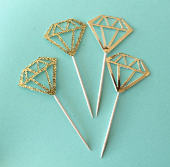 Diamond Cupcake or donut toppers in GOLD, GOLD GLITTER and more! Bachelorette Party, bridal shower, wedding. on Etsy, $8.06 AUD