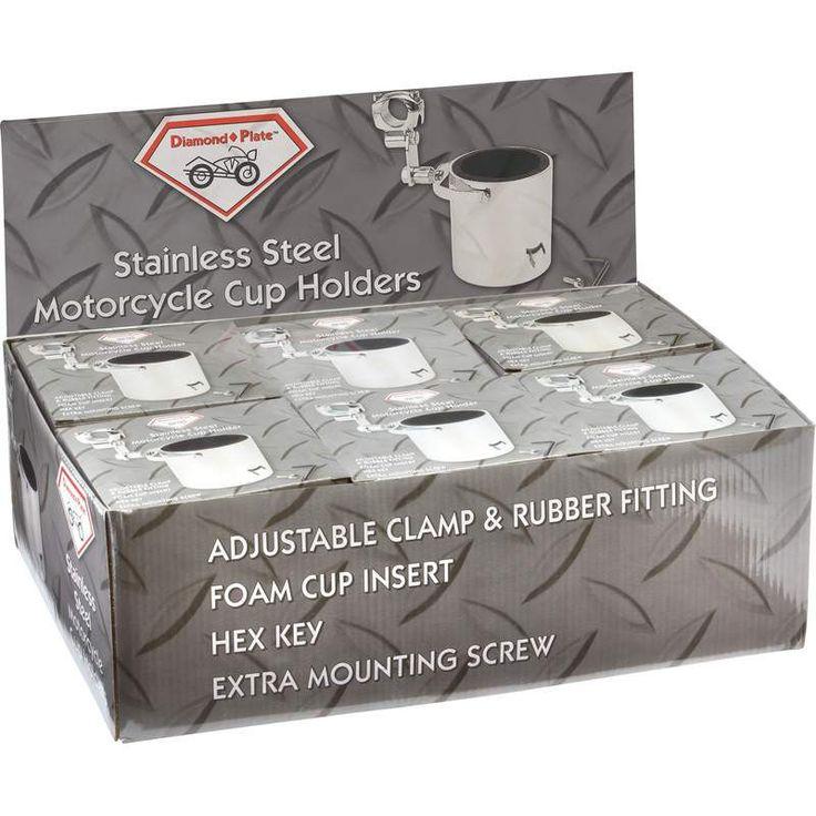 Diamond Plate™ 6pc Stainless Steel Motorcycle Cup Holders in Countertop Display