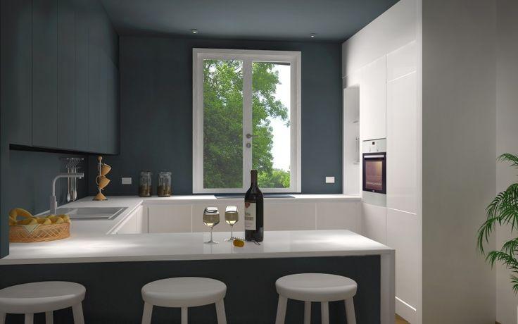Progettazione cucina caratterizzata dal contrasto del blu delle pareti, utilizzato anche per i pensili, e il bianco delle colonne e delle basi. Il piano di lavoro è stato realizzato nella stessa colorazione delle colonne per dare una continuità visiva e per far si che diventi una specie di linea di separazione.