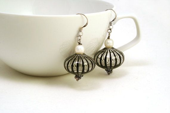 Blown glass earrings Silver earrings Murano earrings by BeadABoo