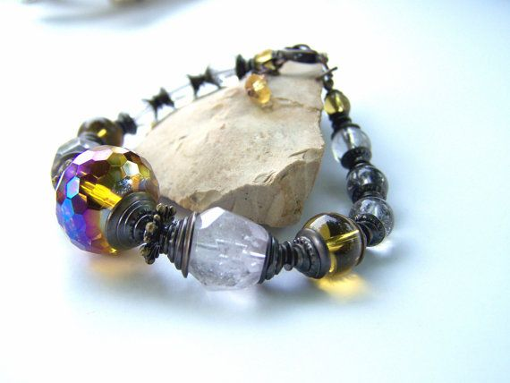 Gemstone beaded bracelet lavender quartz crystal by jwrayjewelry