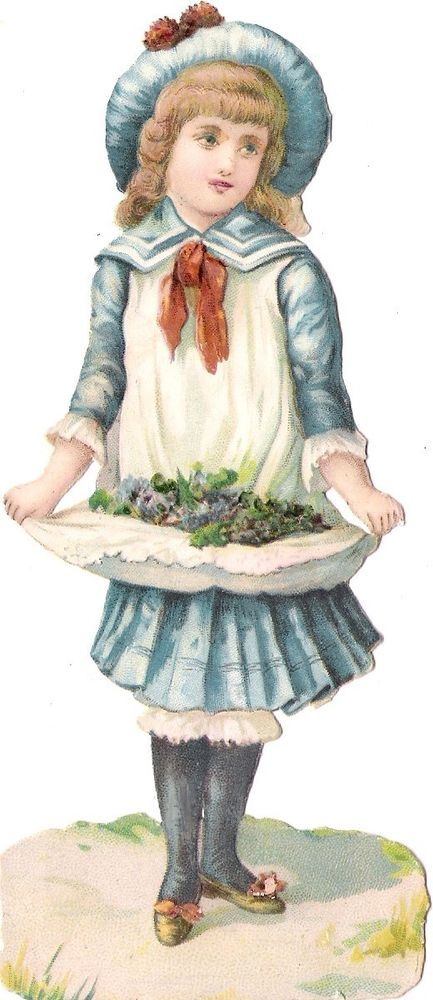 Oblaten Glanzbild scrap die cut chromo Dame 15,5 cm lady fille Kind child girl