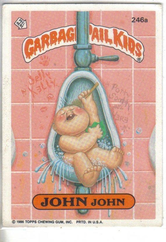 Garbage Pail Kids 1986 246a John John Etsy Garbage Pail Kids Pail Kids