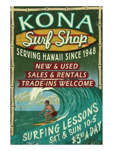 Kona, Hawaii - Surf Shop Print