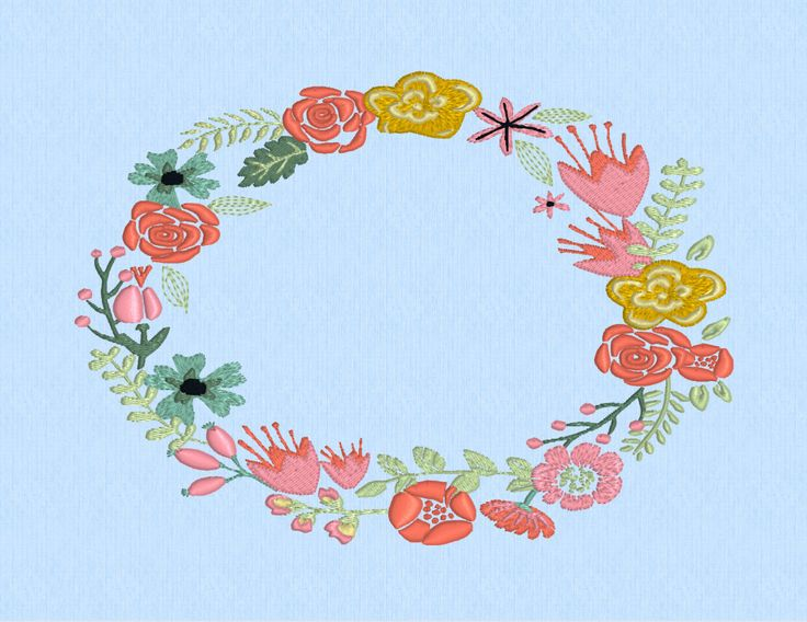 Oval spring wreath shabby chic floral flowers machine