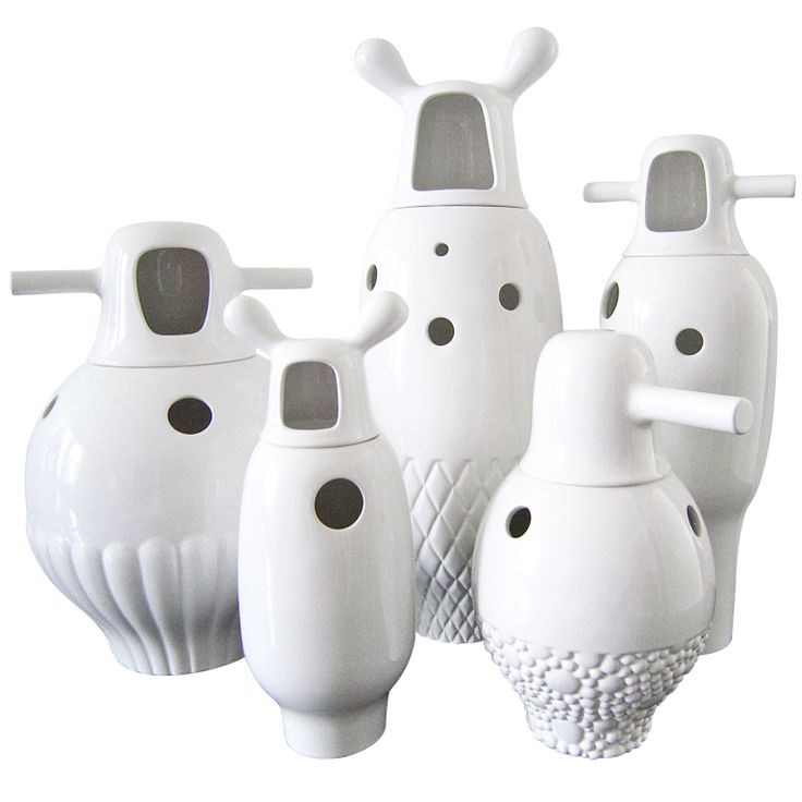 COLLECTION OF FIVE LARGE WHITE  PORCELAIN VASES BY JAMIE HAYON