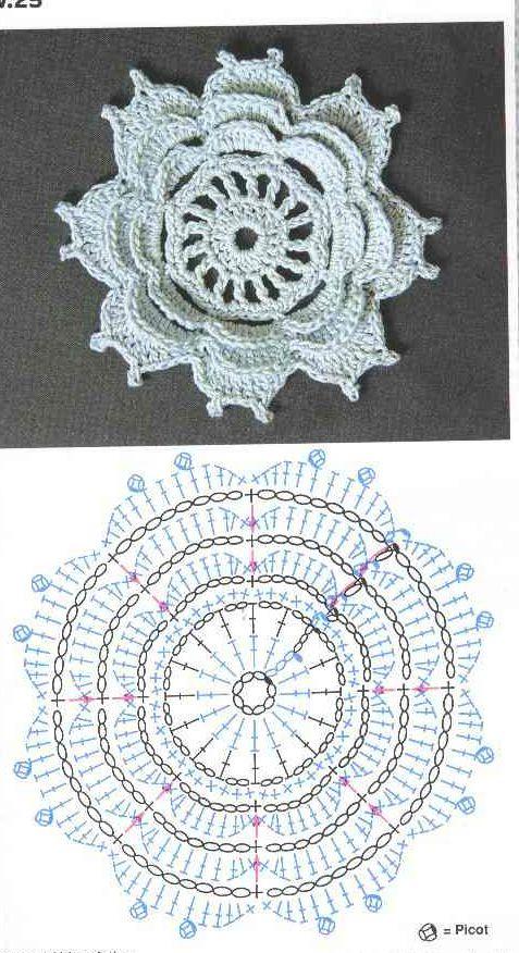 1076 Best Crochet Flowers And Motivs Images On Pinterest Crochet