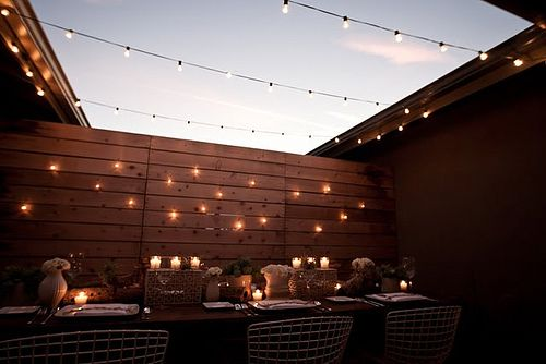 Classy backyard bbq -- cafe string lights (I bought these on sale last month!), rustic decor @Abby Leonhart @Cortney Kemp
