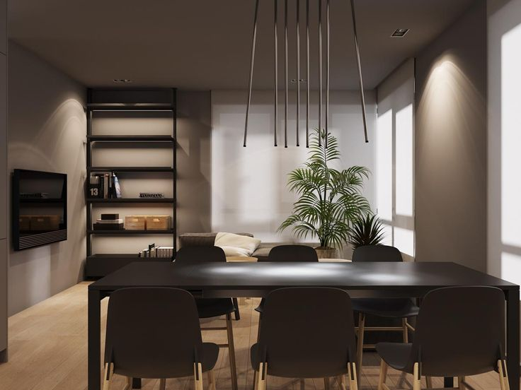 Dark grey home decor with warm led lighting