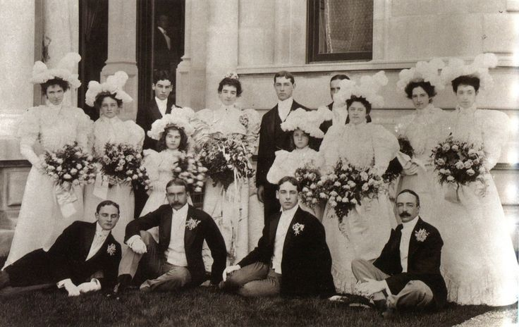 Harry Payne Whitney and Gertrude Vanderbilt Whitney, the daughter of Mr. and Mrs. Cornelius Vanderbilt II, with their wedding party at The Breakers in Newport - August 25, 1897
