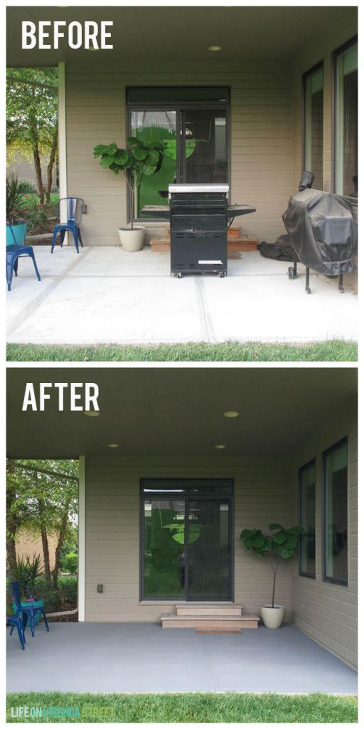Painted Concrete Patio Makeover. The before and after on the concrete is amazing! via Life On Virginia Street #BEHR #BEHRdeckover #sponsored
