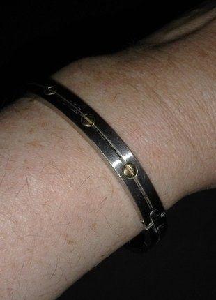 À vendre sur #vintedfrance ! http://www.vinted.fr/mode-hommes/bracelets-gourmettes/26248878-bracelet-or-et-acier-rigide
