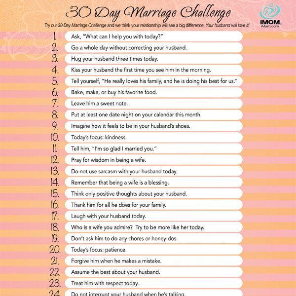 Take iMOM's 30 Day Marriage Challenge and commit to doing a little bit, each day, for a better marriage.