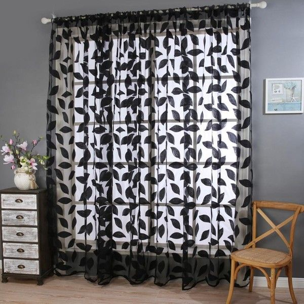 ($13) ❤ Liked On Polyvore Featuring Home, Home Decor, Window Treatments,  Curtains, Door Panel, Black Window Scarf, Sheer Scarf Valance, ...