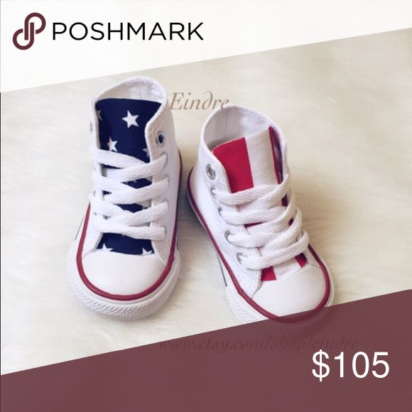 Converse High Top American Flag All white high top Converse Chuck Taylor  designed in American Flag for toddlers. Please message me with any questions  you ...