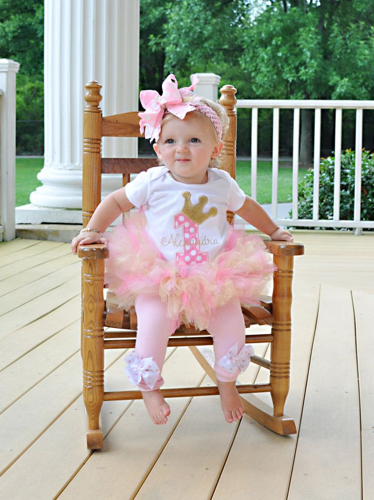Baby Girl First Birthday Tutu Outfit -- Royal Princess As Seen in VOGUE -- bodysuit, leg warmers, tutu, Over The Top bow in pink and gold by DarlingLittleBowShop on Etsy https://www.etsy.com/listing/190263493/baby-girl-first-birthday-tutu-outfit