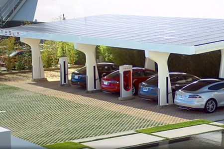 Tesla Supercharge station, with solar panels generating the power