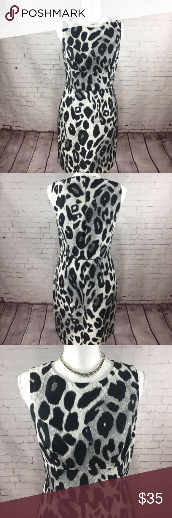 Ann Taylor Animal Print  Sheath Dress Size 4 ▪️Ann Taylor 013 ▪️This chic dress is qualified to help you handle whatever comes your way, interviews, meetings, coffee dates, you name it! ▪️Classic and Stylish Cream and Black print. Add a smart Blazer for a complete and polish look. ▪️Measurements: laying flat Length approx. 35!inches, Armpit to armpit approx. 17 inches, waist is approx. 15 inches,  ▪️Size 2 Please see all pics, read description and ask questions before purchasing. Same day…