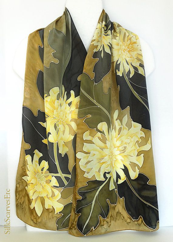 Fall silk scarf  Handpainted scarf yellow brown by SilkScarvesEtc, $165.00