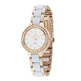 Precioso #reloj para chica de #marea con caja de metal chapado en oro rosa con #zirconitas engarzadas y pulsera de acero también chapado en oro rosa combinada con policarbonato de color blanco.