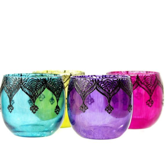 Gypsy Inspired Henna Designed Purple Glass Votive by LITdecor, $10.00, gypsy beauty, design, home.