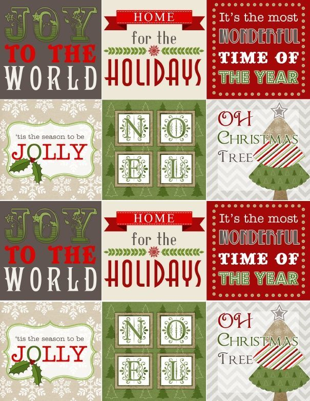 Free printable Christmas-labels use as stickers, part of a collection by InkTreePress.