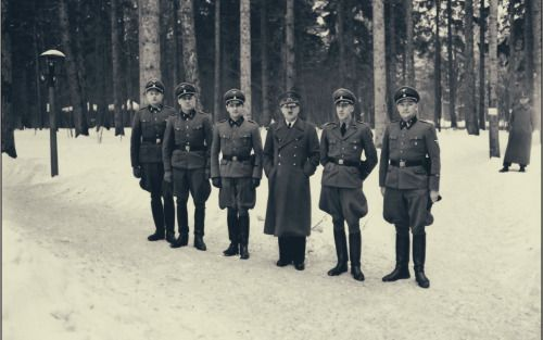 Hitler with his personal bodyguard, Bruno Gesche at the Wolf's Lair