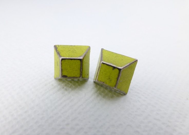 Trapezoid Stud Earrings in Neon Yellow and Copper Patina available at Whimsy & Grace NZ