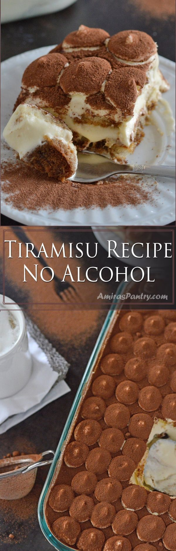 Melt in your mouth, perfectly flavored and miraculously rich tiramisu cake with ladyfingers. This is a tiramisu recipe without alcohol and guess what? no raw egg involved!