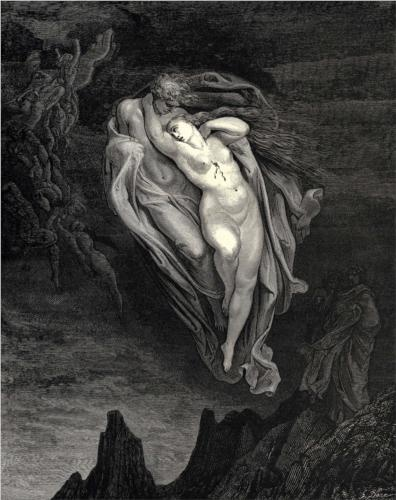 Gustave Dore, from Canto V of Dante's Inferno. Paolo and Francesca :::: pinterest.com christiancross ::::