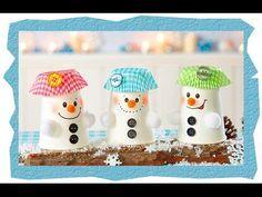Pappbecher Schneemänner, Basteln mit Kindern - YouTube