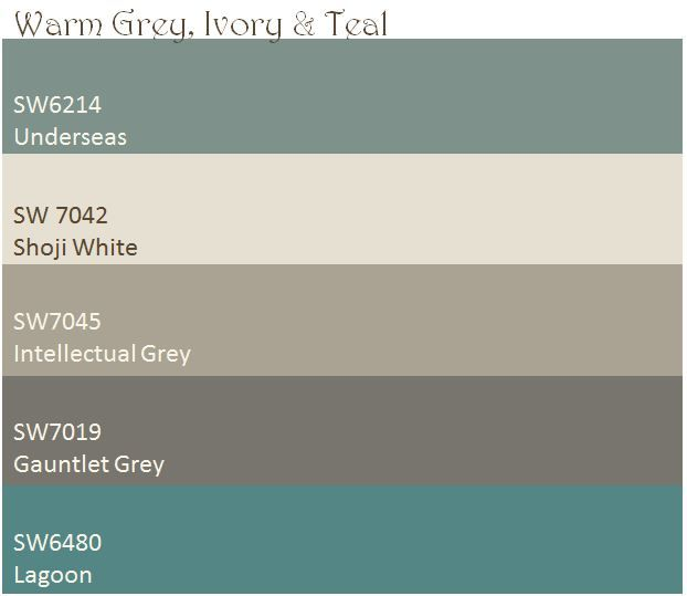 Warm Grey, Ivory, & Teal color palette. These are the paint colors I