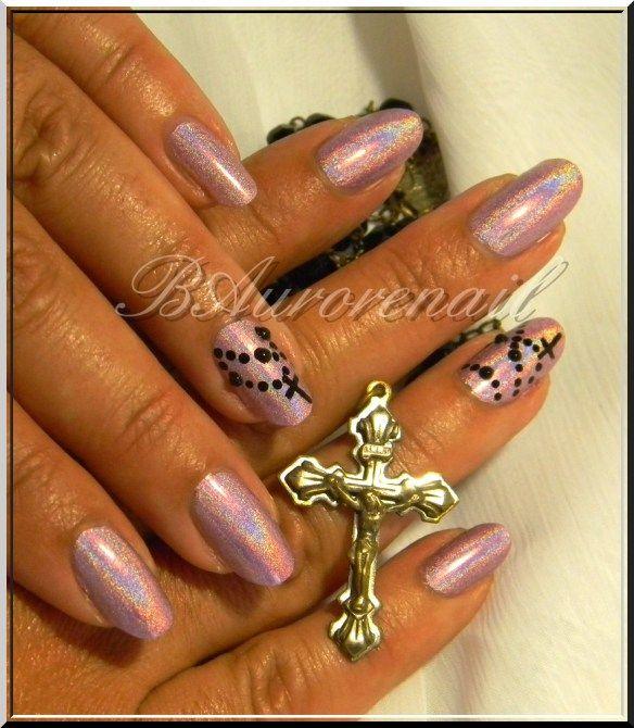 nail art chapelet sur vernsi holo