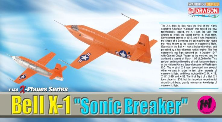 """Dragon 1:144 Bell X-1, """"Sonic Breaker"""" (Contains, 2, replicas), first supersonic aircraft Collection model #Affiliate"""