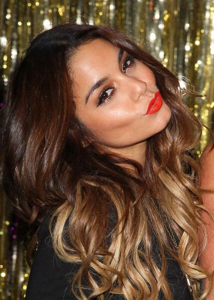 vanessa hudgens gorgeous makeup red lips neutral eyes