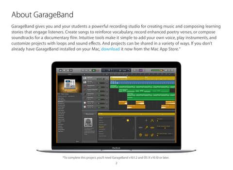 "GarageBand for Mac Starter Guide OS X El Capitan <span itemprop=""name"">Apple Education</span>"