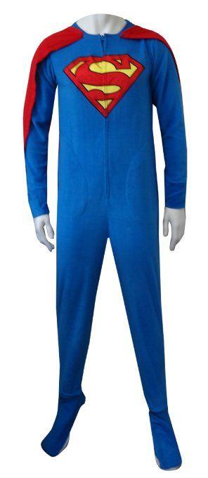 Superman Fleece Onesie Footie #Pajamas with Cape