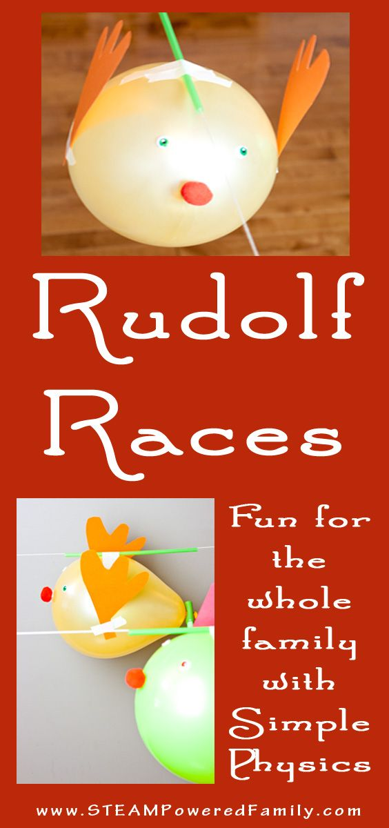 Rudolf balloon race is a fantastic, fun activity for kids of all ages. Simple physics and Christmas STEAM activities for the holidays. via @steampoweredfam