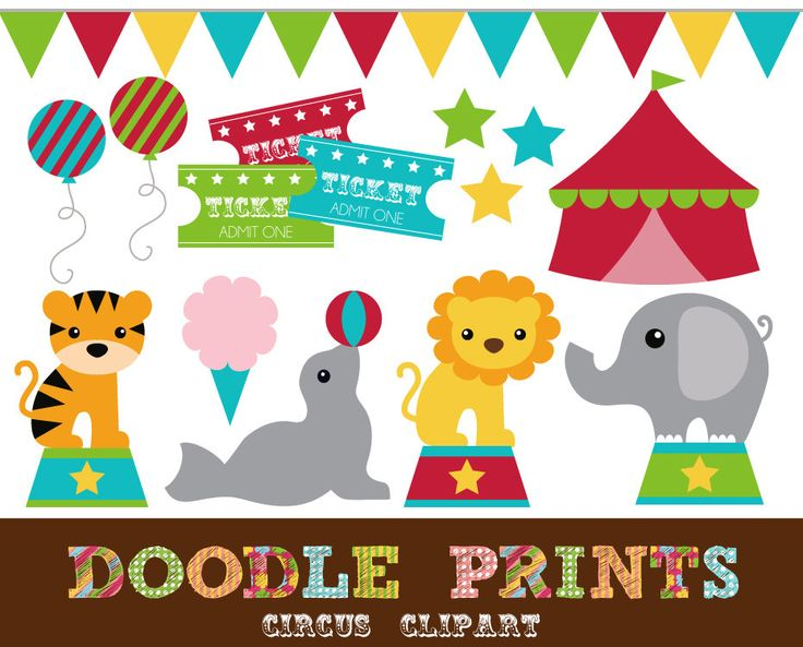 Digital Clip Art Printable - Circus Clipart - Big Red Tent, Elephant, Tiger, Pennant Banner - Personal Use Only. $5.00, via Etsy.