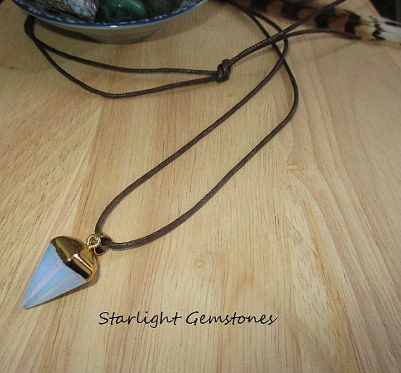 Opalite point gemstone pendant on long dark brown waxed cotton cord necklace. $22
